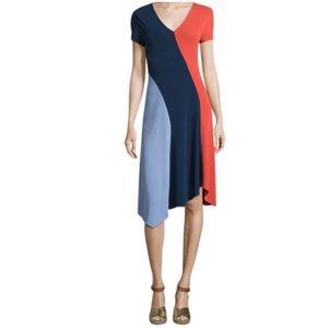 Tory Burch Walden Asymmetrical Color block Dress
